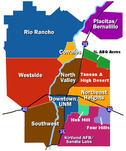 Map of Albuquerque community areas served